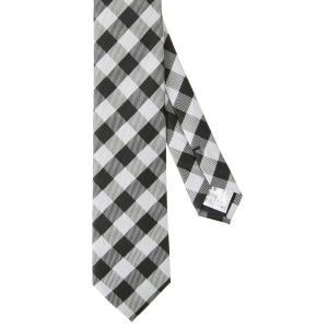 ネクタイ/ナロータイ/メンズ/チェック×織柄ナロータイ ブラック系|uktsc