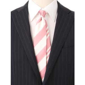 ネクタイ/レギュラータイ/メンズ/ストライプ×ヘリンボーン柄クレリックネクタイ ピンク系|uktsc