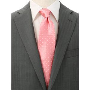 ネクタイ/レギュラータイ/メンズ/ドット柄ネクタイ/Fabric by ITALY/ ピンク系|uktsc