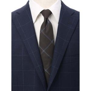 ネクタイ/レギュラータイ/メンズ/JAPAN MADE/チェック柄ネクタイ/Fabric by COLOMBO/ ブラウン系|uktsc