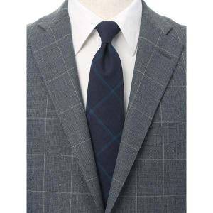 ネクタイ/レギュラータイ/メンズ/JAPAN MADE/チェック柄ネクタイ/Fabric by COLOMBO/ ネイビー系|uktsc