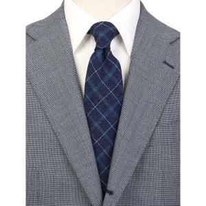 ネクタイ/レギュラータイ/メンズ/JAPAN MADE/チェック柄ネクタイ/Fabric by CANONICO/ ネイビー系|uktsc