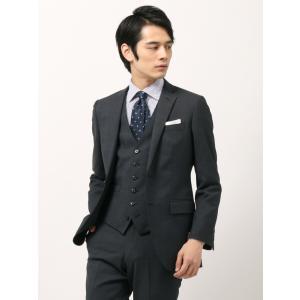 ビジネススーツ/メンズ/通年/スリーピース/アドバンス 2つボタンスーツ ピンヘッド NR-04 ネイビー×ライトグレー uktsc