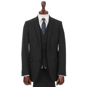 ビジネススーツ/メンズ/通年/スリーピース/アドバンス 2つボタンスーツ ストライプ OZ-01 ブラック×ミディアムグレー uktsc