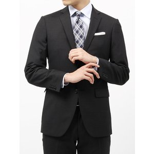 ビジネススーツ/メンズ/春夏/FIT 2つボタンスーツ マイクロパターン NR-05 ブラック×チャコールグレー uktsc