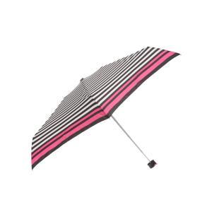 グッズ/メンズ/HUS./Smart duo UVカット折り畳み傘 ピンク×ブラック×ホワイト/ボーダー|uktsc
