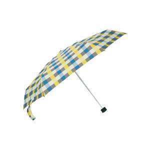 グッズ/メンズ/HUS./Smart duo UVカット折り畳み傘 ブルー×イエロー×グレー/チェッ...