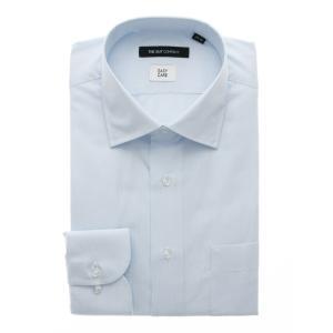 ドレスシャツ/長袖/メンズ/ワイドカラードレスシャツ ストライプ 〔EC・BASIC〕 サックスブル...