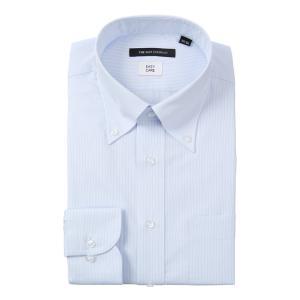 ドレスシャツ/長袖/メンズ/ボタンダウンカラードレスシャツ ストライプ 〔EC・BASIC〕 サックスブルー×ホワイト uktsc