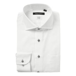 ドレスシャツ/長袖/メンズ/SUPER EASY CARE/ホリゾンタルカラードレスシャツ 織柄 〔EC・BASIC〕 ホワイト|uktsc