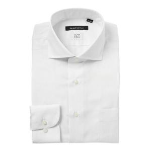 ドレスシャツ/長袖/メンズ/SUPER EASY CARE/ホリゾンタルカラードレスシャツ ストライプ 〔EC・BASIC〕 ホワイト×ライトグレー|uktsc