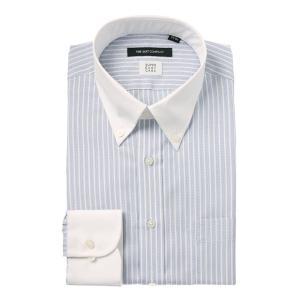ドレスシャツ/長袖/メンズ/SUPER EASY CARE/クレリック&ボタンダウンカラードレスシャツ 〔EC・BASIC〕 ブルー×ホワイト|uktsc
