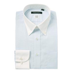 ドレスシャツ/長袖/メンズ/SUPER EASY CARE/クレリック&ボタンダウンカラードレスシャツ 〔EC・BASIC〕 サックスブルー×ホワイト|uktsc