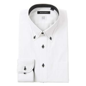 ドレスシャツ/長袖/メンズ/SUPER EASY CARE/ボタンダウンカラードレスシャツ 織柄 〔EC・BASIC〕 ホワイト|uktsc