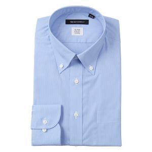 ドレスシャツ/長袖/メンズ/SUPER EASY CARE/ボタンダウンカラードレスシャツ ストライプ〔EC・BASIC〕 ブルー×ホワイト|uktsc