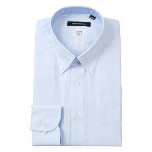 ドレスシャツ/長袖/メンズ/SUPER EASY CARE/ボタンダウンカラードレスシャツ ストライプ〔EC・BASIC〕 サックスブルー×ホワイト|uktsc