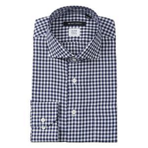 ドレスシャツ/長袖/メンズ/SUPER EASY CARE/ホリゾンタルカラードレスシャツ 〔EC・BASIC〕 ネイビー×ホワイト|uktsc