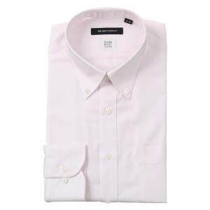ドレスシャツ/長袖/メンズ/SUPER EASY CARE/ボタンダウンカラードレスシャツ〔EC・BASIC〕 ピンク×ホワイト|uktsc
