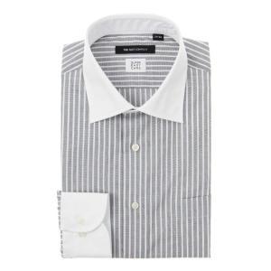 ドレスシャツ/長袖/メンズ/SUPER EASY CARE/クレリック&ワイドカラードレスシャツ〔EC・BASIC〕 チャコールグレー×ホワイト|uktsc
