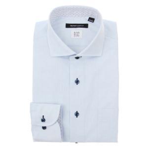 ドレスシャツ/長袖/メンズ/SUPER EASY CARE/ホリゾンタルカラードレスシャツ 織柄 〔EC・BASIC〕 サックスブルー×ホワイト|uktsc