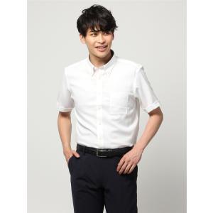 ドレスシャツ/半袖/メンズ/半袖・ICE COTTON/ボタンダウンカラードレスシャツ 織柄 〔EC・BASIC〕 ホワイト|uktsc