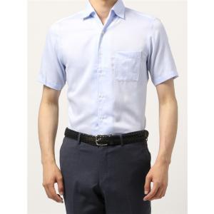 ドレスシャツ/半袖/メンズ/半袖・ICE COTTON/ワンピースカラードレスシャツ 織柄 〔EC・BASIC〕 サックスブルー×ホワイト|uktsc