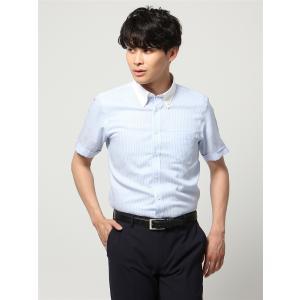 ドレスシャツ/半袖/メンズ/半袖・ICE COTTON/クレリック&ボタンダウンカラードレスシャツ 〔EC・BASIC〕 サックスブルー×ホワイト|uktsc