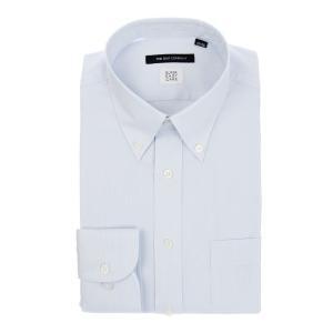 ドレスシャツ/長袖/メンズ/SUPER EASY CARE/ボタンダウンカラードレスシャツ 織柄 〔EC・BASIC〕 サックスブルー|uktsc