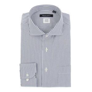 ドレスシャツ/長袖/メンズ/SUPER EASY CARE/ホリゾンタルカラードレスシャツ ストライプ 〔EC・BASIC〕 ネイビー×ホワイト|uktsc