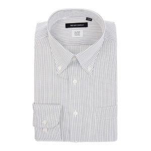 ドレスシャツ/長袖/メンズ/SUPER EASY CARE/ボタンダウンカラードレスシャツ ストライプ 〔EC・BASIC〕 ホワイト×ネイビー|uktsc