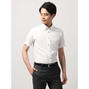 ドレスシャツ/半袖/メンズ/半袖・SUPER EASY CARE/ボタンダウンカラードレスシャツ 織柄 〔EC・BASIC〕 ホワイト|uktsc