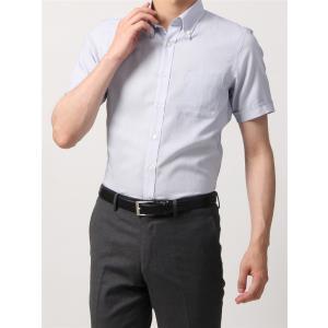 ドレスシャツ/半袖/メンズ/半袖・SUPER EASY CARE/ボタンダウンカラードレスシャツ 織柄 〔EC・BASIC〕 ホワイト×ブルー|uktsc