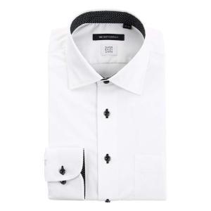 ドレスシャツ/長袖/メンズ/SUPER EASY CARE/ワイドカラードレスシャツ 織柄 〔EC・BASIC〕 ホワイト|uktsc
