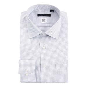ドレスシャツ/長袖/メンズ/SUPER EASY CARE/ワイドカラードレスシャツ グラフチェック 〔EC・BASIC〕 ホワイト×ネイビー|uktsc