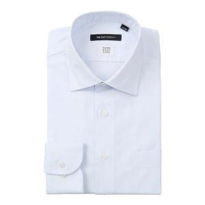 ドレスシャツ/長袖/メンズ/SUPER EASY CARE/ワイドカラードレスシャツ 織柄 〔EC・BASIC〕 サックスブルー×ホワイト|uktsc