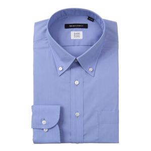 ドレスシャツ/長袖/メンズ/SUPER EASY CARE/ボタンダウンカラードレスシャツ 織柄 〔EC・BASIC〕 ブルー|uktsc