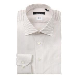 ドレスシャツ/長袖/メンズ/SUPER EASY CARE/ワイドカラードレスシャツ ストライプ 〔EC・BASIC〕 ベージュ×ホワイト|uktsc
