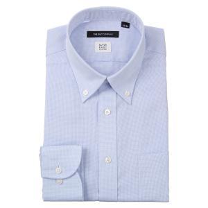 ドレスシャツ/長袖/メンズ/ICE COTTON/ボタンダウンカラードレスシャツ 織柄 〔EC・BASIC〕 サックスブルー×ホワイト|uktsc