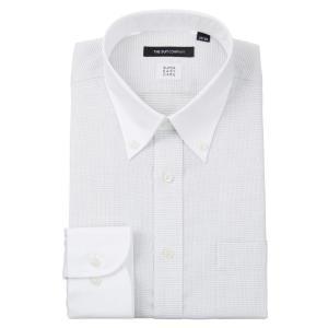 ドレスシャツ/長袖/メンズ/ICE COTTON/クレリック&ボタンダウンカラードレスシャツ 織柄 〔EC・BASIC〕 ミディアムグレー×ホワイト|uktsc