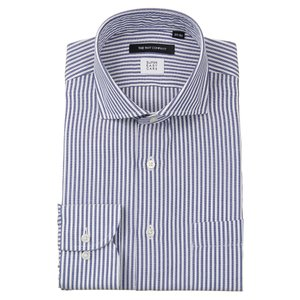 ドレスシャツ/長袖/メンズ/ICE COTTON/ホリゾンタルカラードレスシャツ ロンドンストライプ 〔EC・BASIC〕 ネイビー×ホワイト|uktsc