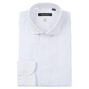 ドレスシャツ/長袖/メンズ/ICE COTTON/ホリゾンタルカラードレスシャツ ストライプ 〔EC・BASIC〕 サックスブルー×ホワイト|uktsc