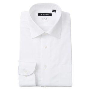 ドレスシャツ/長袖/メンズ/NON IRON STRETCH/ワイドカラードレスシャツ 無地 〔EC・BASIC〕 ホワイト|uktsc