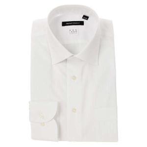 ドレスシャツ/長袖/メンズ/NON IRON STRETCH/ワイドカラードレスシャツ シャドーストライプ〔EC・BASIC〕 ホワイト|uktsc