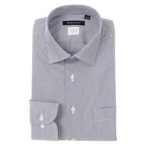 ドレスシャツ/長袖/メンズ/NON IRON STRETCH/ワイドカラードレスシャツ ストライプ 〔EC・BASIC〕 ネイビー×ホワイト|uktsc