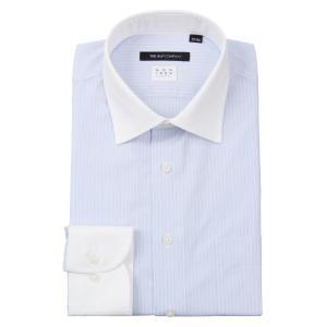 ドレスシャツ/長袖/メンズ/NON IRON STRETCH/クレリック&ワイドカラードレスシャツ 〔EC・BASIC〕 ブルー×ホワイト|uktsc