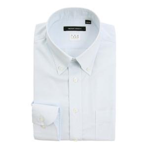ドレスシャツ/長袖/メンズ/NON IRON STRETCH/ボタンダウンカラードレスシャツ 織柄 〔EC・BASIC〕 サックスブルー|uktsc