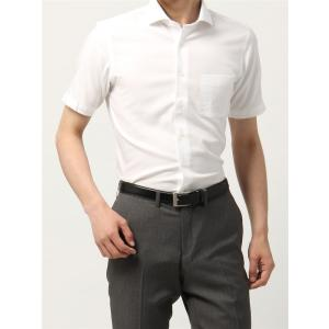 ドレスシャツ/半袖/メンズ/半袖・NON IRON STRETCH/ホリゾンタルカラードレスシャツ織柄 〔EC・BASIC〕 ホワイト|uktsc