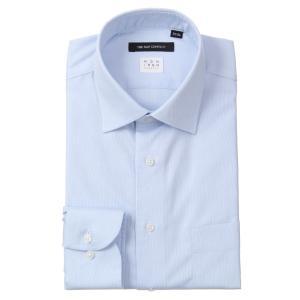 ドレスシャツ/長袖/メンズ/NON IRON STRETCH/ワイドカラードレスシャツ 織柄 〔EC・BASIC〕 ブルー×ホワイト|uktsc