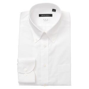 ドレスシャツ/長袖/メンズ/NON IRON STRETCH/ボタンダウンカラードレスシャツ 織柄 〔EC・BASIC〕 ホワイト|uktsc