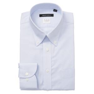 ドレスシャツ/長袖/メンズ/NON IRON STRETCH/ボタンダウンカラードレスシャツ 織柄 〔EC・BASIC〕 サックスブルー×ホワイト|uktsc